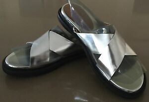 New Ladies MARCS Slides Silver Leather Criss Cross Slip on Sandals Shoes Size 41