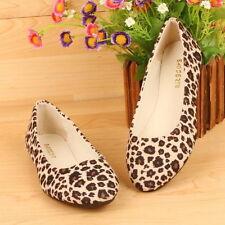 Women Lady Comfort Leopard Ballet Flat Shoe Slip on Canvas Suede Moccasin Loafer