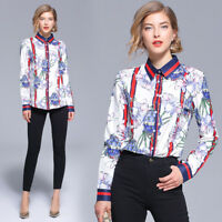 2018 Autumn Women's New Style Temperament Fashion Turn-Down Collar Printed Shirt