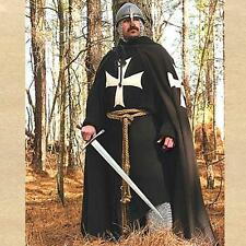 MEDIEVAL KNIGHT HOSPITALLER Long Sleeve TUNIC with HOOD and CORDED BELT S/M New