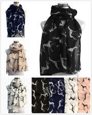 Long Whippet Dog Greyhound Racing Dog Animal Print Pattern Fashion Scarf Shawl
