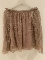 DUSTY PINK BARDOT TOP BNWT 14 LACE HOLIDAY SMART SUN PRETTY CUTE SUMMER GLAM FIT