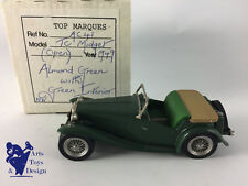 1/43 TOP MARQUES REF AC41 MG TC MIDGET OPEN 1949 GREEN WITH GREEN INTERIOR