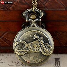 Vintage Quartz Bronze Motorcycle Pocket Watch Necklace Pendant Antique Chain Men