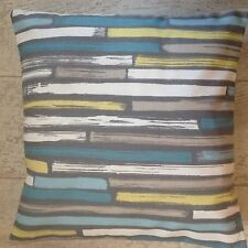 """One New Duck Egg Blue Teal Grey Stripe Cotton Fabric Cushion Covers 16"""""""
