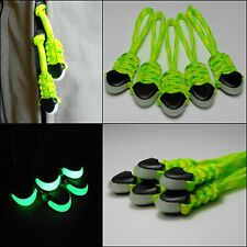 (5) Paracord Zipper Pulls - Back Packs Gear Bags Zombie Bugout Bags - DAY GLOW