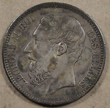 Belgium 1867 2 Francs Km-30.1 Midgrade coin with some minor spots