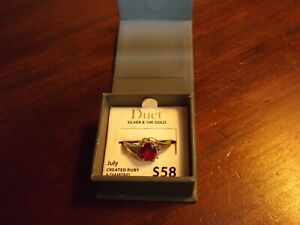 Duet Silver & 10K Gold Ruby and Diamond Ring Size 7 W/Original Box