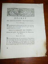 291-REVOLUTION 1791 fuite de Varennes: Décret de pose des scellés aux TUILERIES