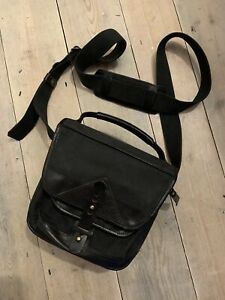 Fogg Lyre Satchel Camera Bag BLACK with Black Leather