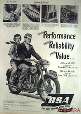 1954 Motor Cycle ADVERT: B.S.A. '350 OHV Model B31 & 500 OHV B33' Print AD #3