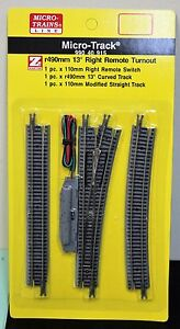 Z Scale - MICRO-TRAINS MTL 990 40 915 Right Hand 13 Deg Remote Turnout Track Set