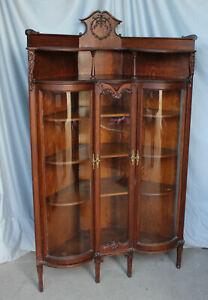 Antique Oak Corner China Curio Cabinet – original finish - Fancy
