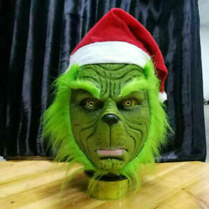 The Grinch Full Head Latex Mask Wig And Xmas Hat Monster Costume Halloween Props