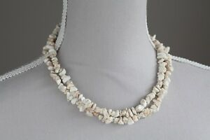 "WHITE MAGNESITE LONG LINE NECKLACE 36"" LENGTH"