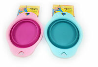 2 x Folding Pet Dog Bowls Silicone Collapsible Food Water Travel Cat Drinking