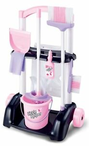 Childrens PINK Cleaning Trolley Cart with Mop & Brush Kids Role Play Toy Set 477