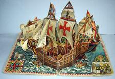 OLD ANTIQUE 1960 Pop-up BOOK Christopher Columbus Ship Santa Maria Pinta KUBASTA