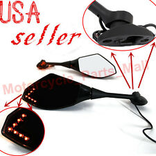 MOTORCYCLE REARVIEW MIRRORS LED TURN SIGNAL FOR HONDA CBR1000RR 600RR GSXR BLACK