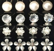 1 - 20 Diamante Pearl Rhinestone Solitaire Flower Daisy Hair Pins Wedding Prom