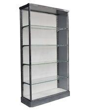Grande vitrine en verre et métal chromé vintage 1970
