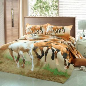 Horses Doona Quilt Duvet Cover Set Single/Double/Queen/King Size Bedding Sheet