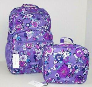 Vera Bradley Lighten Up Essential Large Backpack & Lunch Box ENCHANTED GARDEN