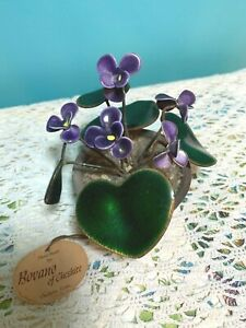 Vintage Bovano of Cheshire VIOLETS Plant Sculpture original tag 5 flowers