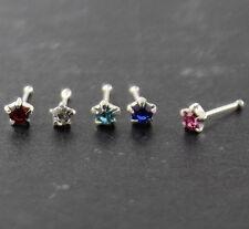 5 pcs 22G 6 mm 925 Sterling Silver 1.5 mm CZ in Star Claw Setting Nose Bone Stud