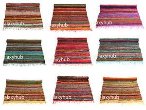 Floor Decor 4X6 Ft Area Rag Rug Home Decor Colorful Cotton Rug 3X5 Ft Chindi Rug