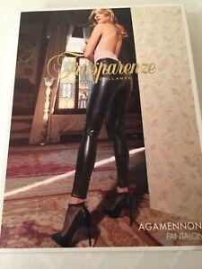Leggings Trasparenze Agamennone Pantalone Faux Leather Soft finish LARGE Black