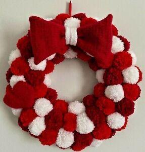 Handmade Pom Pom Wreath Red and White Gift Valentine