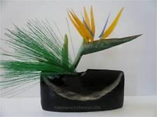 Japanese Ikebana Vase Black Boat Shape Ceramic Flower Arrangement/Made in Japan