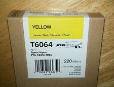 10-2014 GENUINE EPSON T6064 YELLOW 220ml K3 INK STYLUS PRO 4800 4880