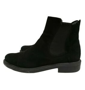 Stuart Weitzman Women's Size 6.5 Black Suede Ankle Boots Booties Shoes Stretch