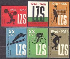 POLAND 1966 Matchbox Label - Cat.Z#647/52 set, 20 years LZS, Rural Sports Clubs.