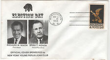 Nixon Agnew Wash DC Election Day Cover Register & VOTE Stamp NY Young Rep. Club