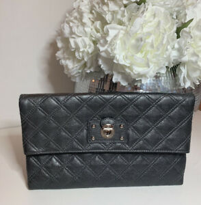 New Authentic Designer Marc Jacobs Eugenie Large Grey Quilted Leather Clutch Bag
