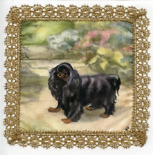 More details for king charles english toy spaniel hand painted on real silk with gold lace border
