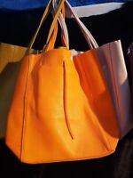 Leather italian unlined shopper shopping bag soft hide colours