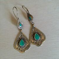 "Bohemian Tribal Earrings 2.5"" Green Accent (Style #2)"
