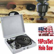 """16Pcs/Set Carbon Hole Saw Cutting Drill Bit 1/4"""" 3/8"""" Plastic Wood Plasterboard"""