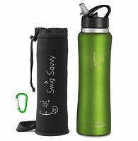 Swig Savvy 32 Oz Green Stainless Steel Insulated Water Bottle & Flip Straw Cap