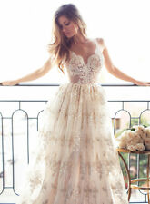 White/ivory Lace A Lined Wedding Dress Beach Bohemian Bridal Gown Custom Size