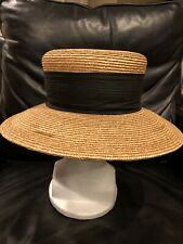 Patricia Underwood Tan Woven Straw Hat With Black Silk Band
