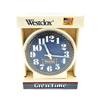 Vintage 1990s Decor Denim Clock Blue Westclox Great Time Made USA BRAND NEW NOS