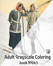 Adult Coloring Book (24 pages) Winter Sport Vintage Girl Ski FLONZ grayscale 043