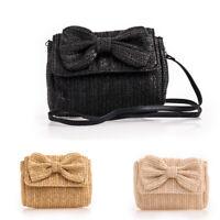 Ladies Straw Saddle Bag Shoulder Bag Girl Bow Satchel Bag Summer Handbag KTC2453