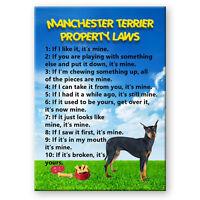 MANCHESTER TERRIER Property Laws FRIDGE MAGNET Steel Cased DOG