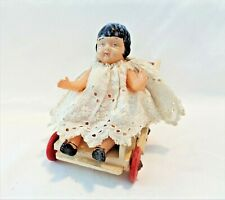 ANTIQUE CELLULOID CHARACTER  DOLL BABY PEGGY MONTGOMERY? JAPAN WOOD STROLLER